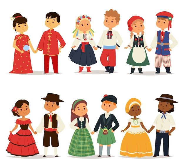 Traditional kids couples character of world dress girls and boys in different national costumes and cute little children nationality dress