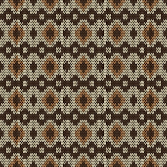Traditional knitted fabric seamless pattern background in brown classic tribal style