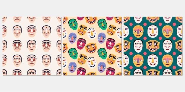 한국 전통 마스크 원활한 패턴 세트