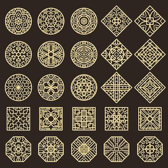 伝統的な韓国の装飾品。入れ墨のパターンのベクトルの設計のためのアジアの装飾の幾何学的な本物の形。イラスト伝統的な韓国と中国の装飾