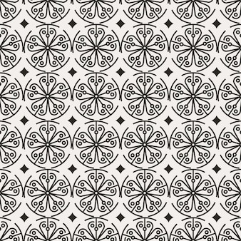 Traditional korean seamless pattern design with rounded beauty flower