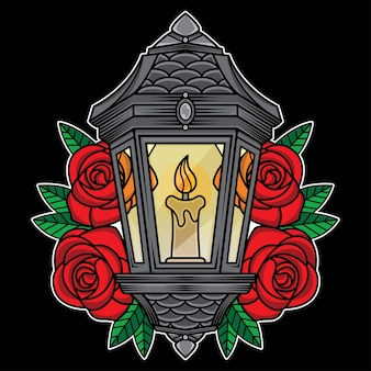 Traditional lantern tattoo