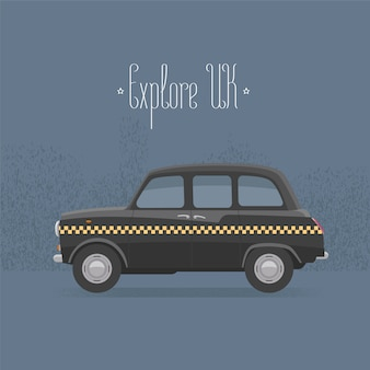 Traditional london, uk, britain black taxi cab vector illustration
