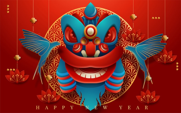 Traditional lunar year greeting card with hanging lanterns, red color paper art style. translation : happy new year. vector illustration