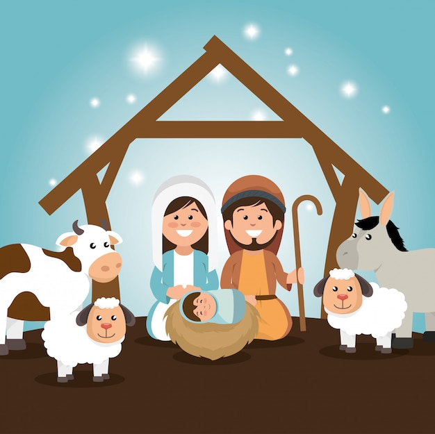Traditional manger merry christmas