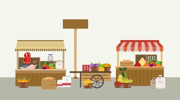 伝統的な市場の背景ベクトルセット