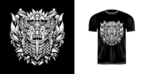 Tシャツのデザインのための彫刻飾りと伝統的なマスクバロン