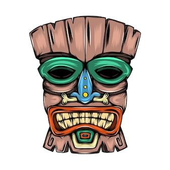Traditional mask made from the wood with the colorful pain inspiration from tiki island