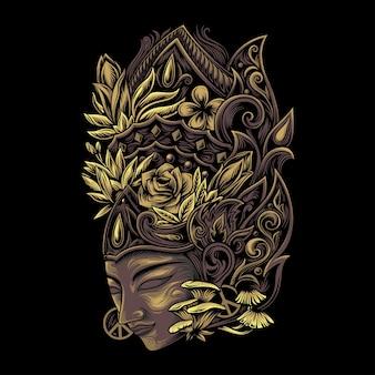 植物の冠を持つ伝統的なマスク