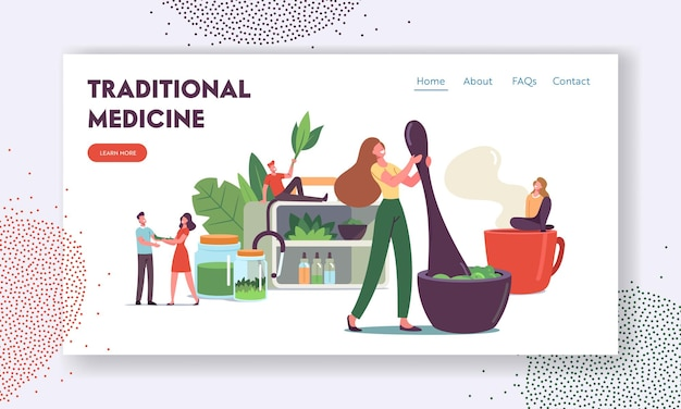 Traditional medicine landing page template. doctors characters make drugs of medical herbs and plants, preparing homeopathic recipes for personal use, ayurvedic remedy. cartoon vector illustration