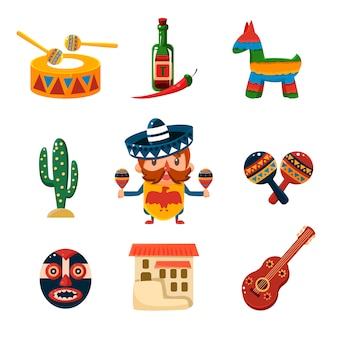 Traditional mexical objects illustration