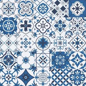 伝統的なメキシコとポルトガルの磁器セラミックタイルパターン。アズレージョ、タラベラ地中海パッチワークタイルベクトルイラストセット。セラミック民族民俗飾り