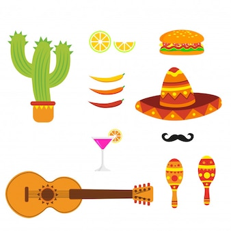 Traditional mexican elements for cinco de mayo.