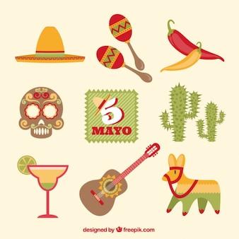 Традиционные мексиканские элементы для пяти мая