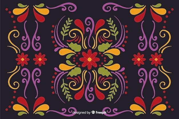 伝統的なメキシコ刺繍の背景