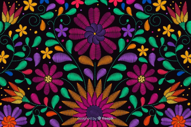 Traditional mexican embroidery background