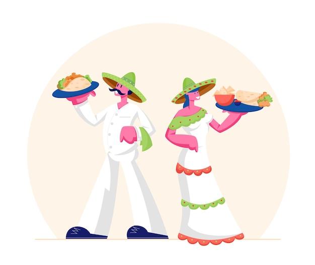 전통적인 멕시코 음식 개념. 만화 평면 그림