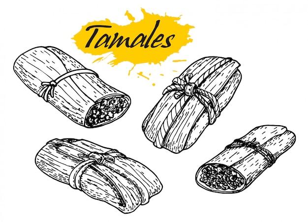 伝統的なメキシコ料理のタマレ。手描きのスケッチスタイルのイラスト。レストランのメニュー、チラシ、バナーに最適です。ビンテージメキシコ料理バナー