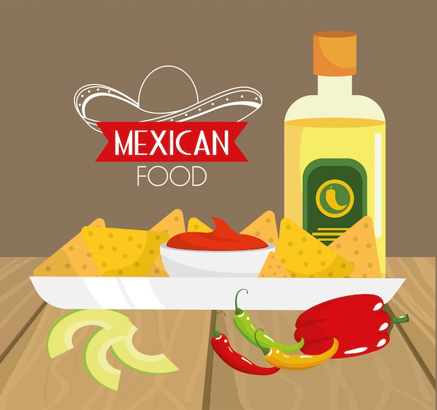 Traditional mexican food with avocado and tequila
