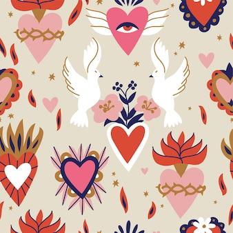伝統的なメキシコの心のイラストのシームレスなパターン