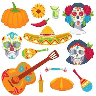 Традиционные мексиканские символы для празднования дня мертвых. изолированные значок сомбреро, текилы и гитары, окрашенный череп и скелет. маракасы и горящая свеча, чили и тыква, вектор