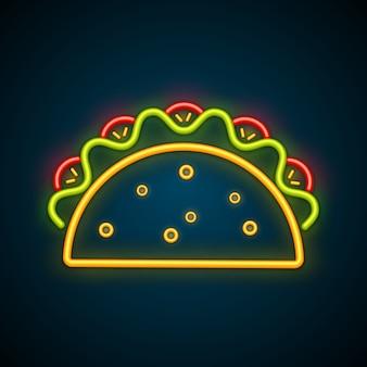 Традиционная мексиканская тако реклама неоновая вывеска Premium векторы