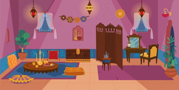 Традиционный ближневосточный интерьер гостиной с деревянной мебелью и элементами декора