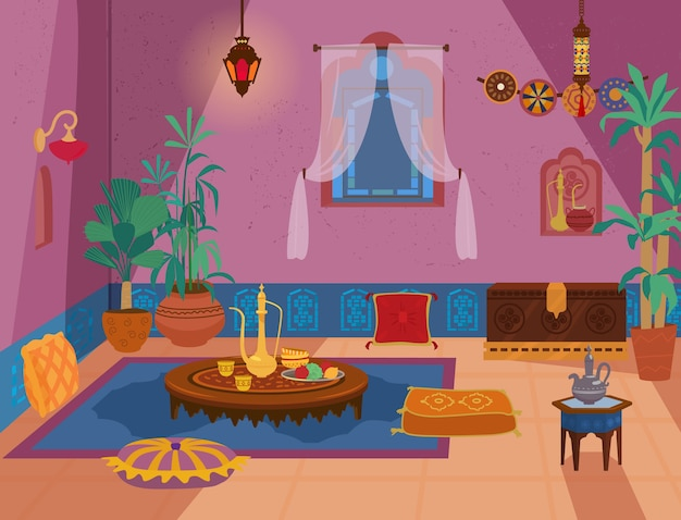 Traditional middle eastern living room interior with wooden furniture and decoration elements