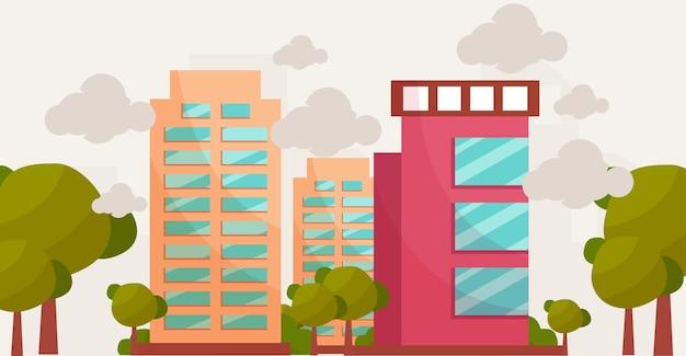 Cartone animato edificio tradizionale e moderno illustrazione di concetto di design piatto, concetto di costruzione di affari immobiliari