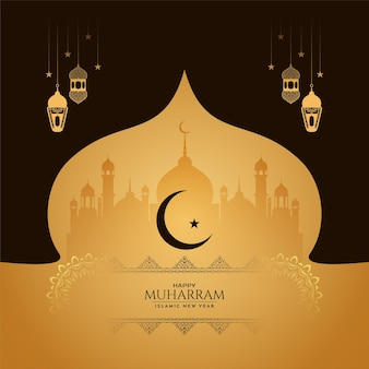 Traditional muharram festival and islamic new year background vector