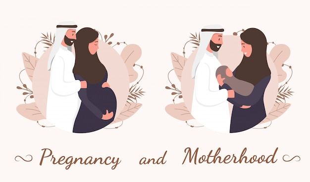 Traditional muslim family, pregnancy and child birth in arab couple. a pregnant woman in hijab and national costume with her husband and baby. flat  illustration.