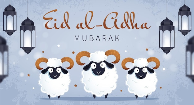 Traditional muslim holiday eid al-adha. white rams and hanging lamps.