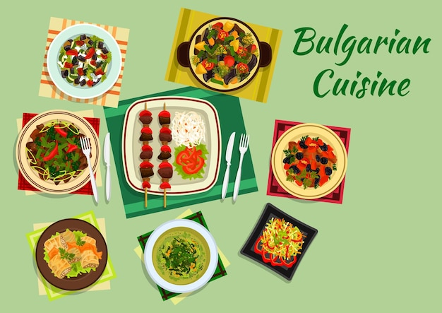 Traditional national dishes of bulgarian cuisine with lamb kebab and vegetables, cabbage rolls sarmi and pork with prunes