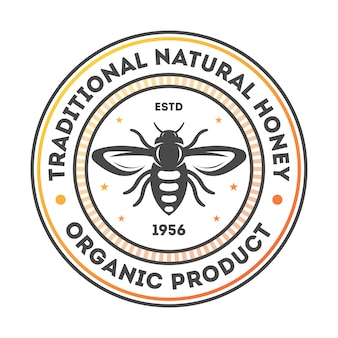 Traditional natural honey vintage isolated label