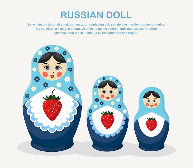 Traditional nesting doll. simple colorful matryoshkas of different sizes