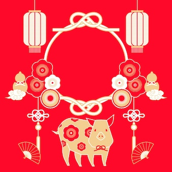Traditional new year poster with zodiac piggy and lanterns elements, copy space for design uses