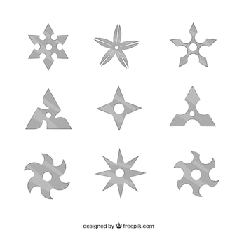 Traditional ninja star collection with flat design