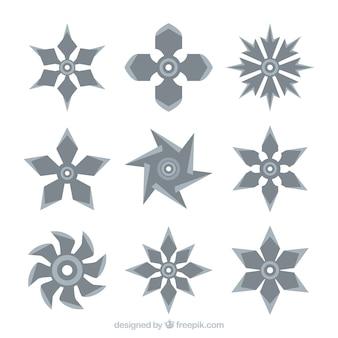 평면 디자인의 전통적인 닌자 스타 컬렉션