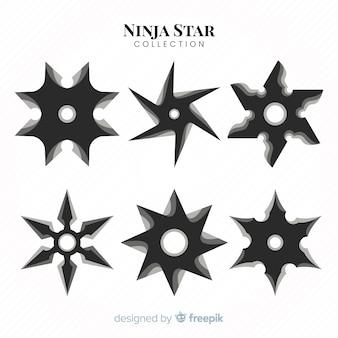 Традиционная коллекция звезд ниндзя с плоским дизайном