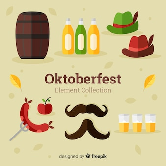 Traditional oktoberfest element collection with flat design