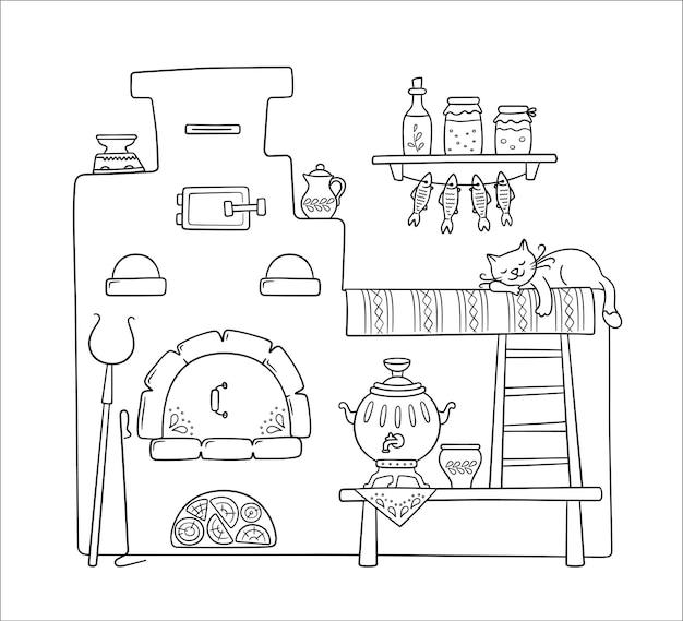 Традиционная старинная русская печь со скамейкой, самоваром, ручкой, горшками, кувшином и спящим котом. вектор рисованной иллюстрации символа русской культуры
