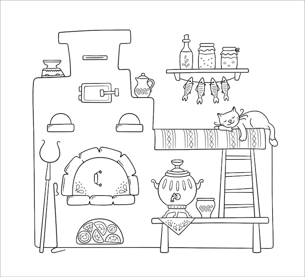Traditional old russian stove with bench, samovar, grip, pots, jug and sleep cat. vector hand drawn illustration of symbol of russian culture