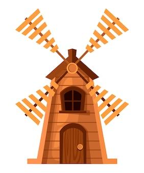 伝統的な古い風車。木製ミル。 。白い背景のイラスト。 webサイトページとモバイルアプリ。
