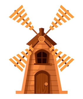 Traditional old windmill. wooden mill.   .  illustration  on white background. web site page and mobile app .