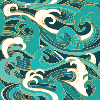 Traditional oriental seamless pattern with ocean waves