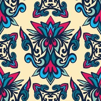 Традиционная богато украшенная декоративная плитка штофа винтажный образец. абстрактный фон. турецкий восточный орнамент для обоев и ткани