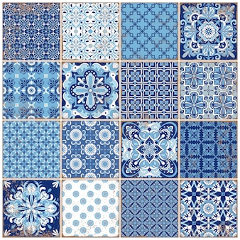伝統的な華やかなポルトガルのタイルアズレージョ。テキスタイルデザインのヴィンテージパターン。幾何学的なモザイク、マジョリカ。シームレスな幾何学模様。装飾的な背景。ヴィンテージの花柄。