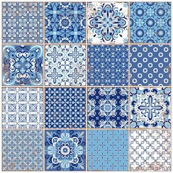 Azulejos традиционной богато украшенной португальской плиткой. винтажный образец для текстильного дизайна. геометрическая мозаика, майолика. бесшовные геометрический рисунок. декоративный фон. винтажный цветочный узор.