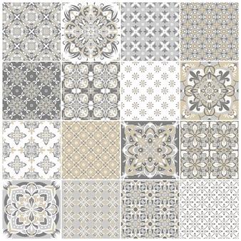 伝統的な華やかなポルトガルのタイルアズレージョ。テキスタイルデザインのヴィンテージパターン。幾何学的なモザイク、マジョリカ。シームレスな幾何学模様。装飾的な背景。