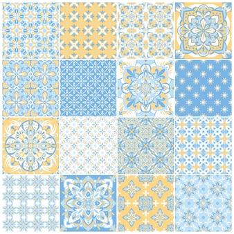 伝統的な華やかなポルトガルのタイルアズレージョ。テキスタイルデザインのヴィンテージパターン。幾何学的なモザイク、マジョリカ。シームレスな幾何学模様。ベクトル装飾的な背景。ヴィンテージの花柄。